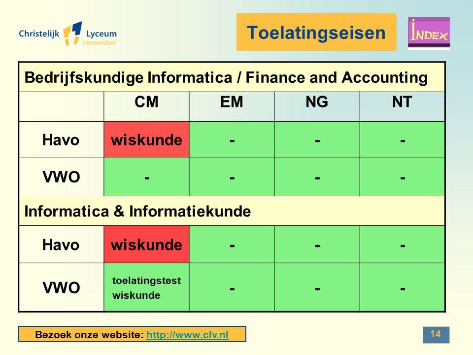 Bezoek onze website: http://www.clv.nlhttp://www.clv.nl 14 Toelatingseisen Bedrijfskundige Informatica / Finance and Accounting CMEMNGNT Havowiskunde-