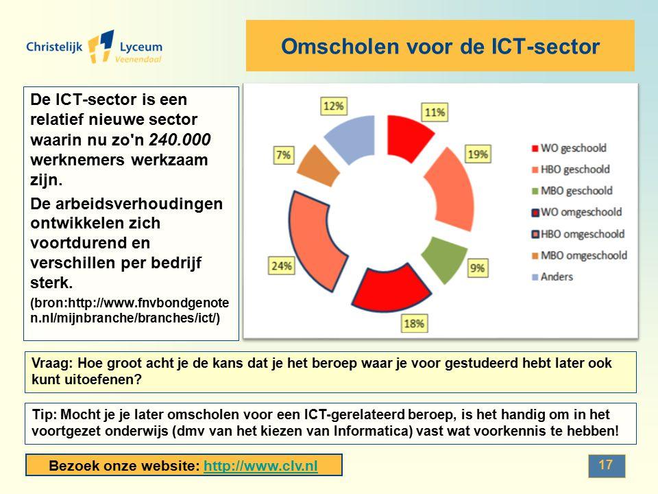 Bezoek onze website: http://www.clv.nlhttp://www.clv.nl Omscholen voor de ICT-sector De ICT-sector is een relatief nieuwe sector waarin nu zo'n 240.00