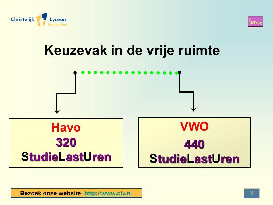 Bezoek onze website: http://www.clv.nlhttp://www.clv.nl 4 Havo 4/5 Per week : 3 contacturen VWO 4/5/6 Per week : 2 contacturen (klas 4) 3 contacturen (klas 5+6) In de praktijk: