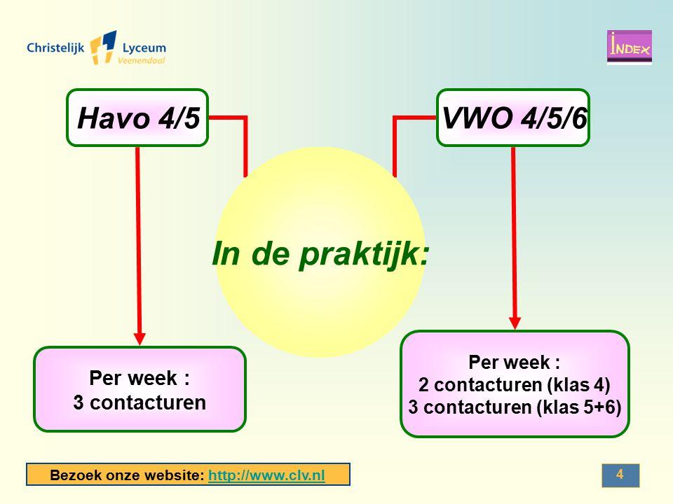 Bezoek onze website: http://www.clv.nlhttp://www.clv.nl 4 Havo 4/5 Per week : 3 contacturen VWO 4/5/6 Per week : 2 contacturen (klas 4) 3 contacturen