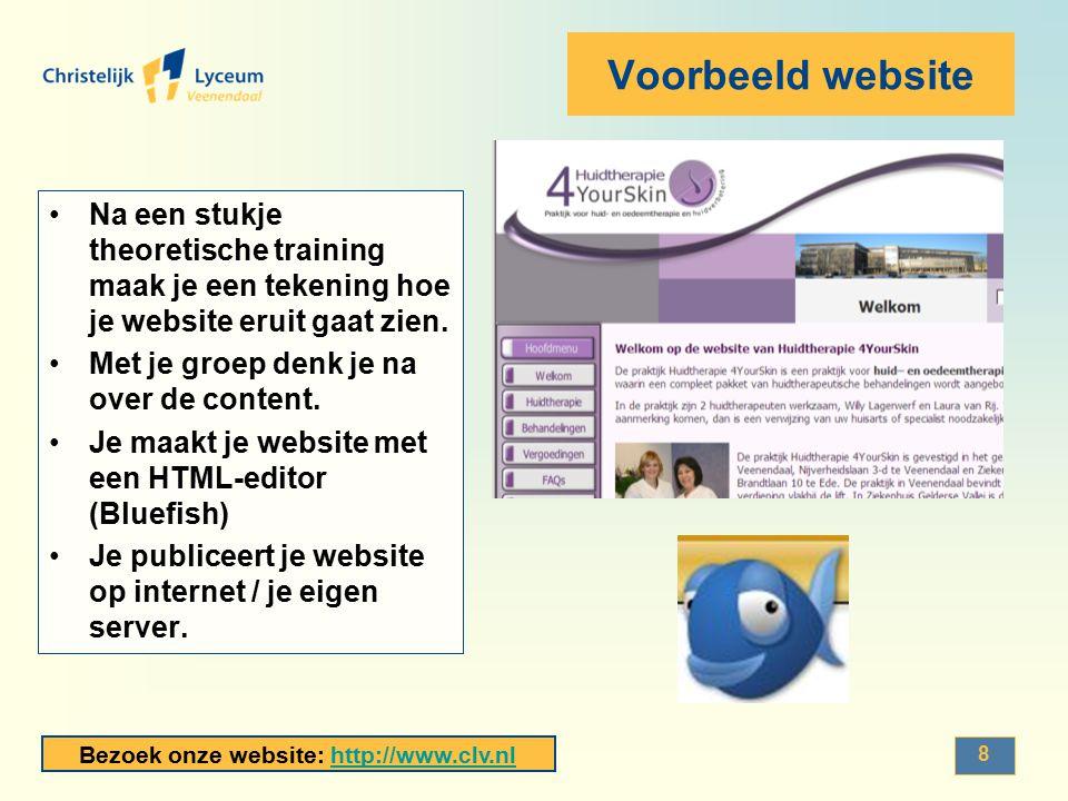Bezoek onze website: http://www.clv.nlhttp://www.clv.nl Voorbeeld website Na een stukje theoretische training maak je een tekening hoe je website erui