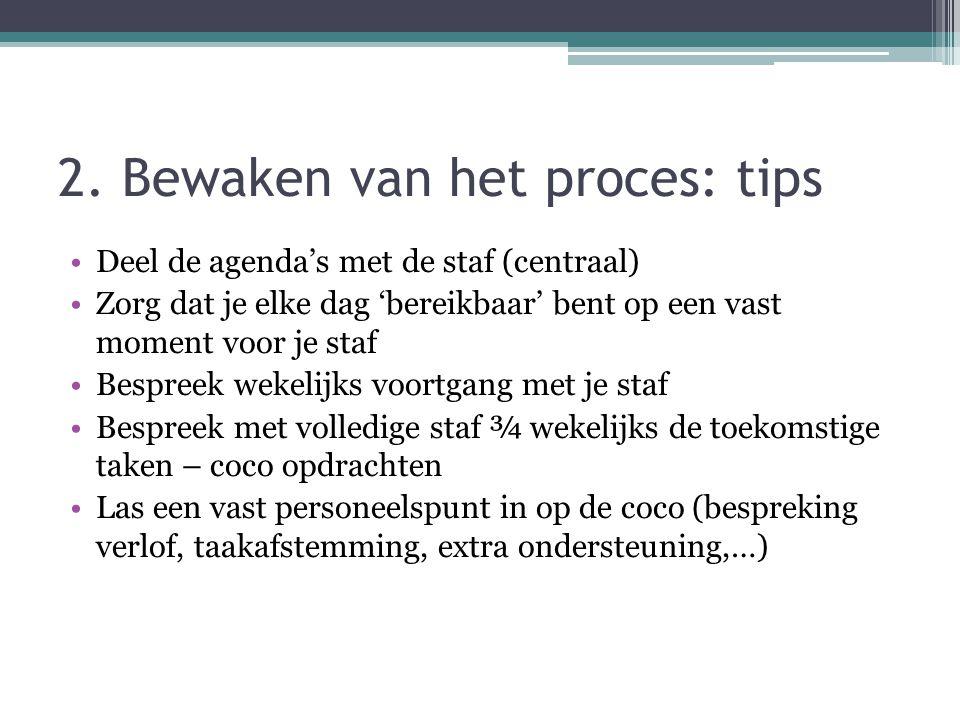 2. Bewaken van het proces: tips Deel de agenda's met de staf (centraal) Zorg dat je elke dag 'bereikbaar' bent op een vast moment voor je staf Bespree
