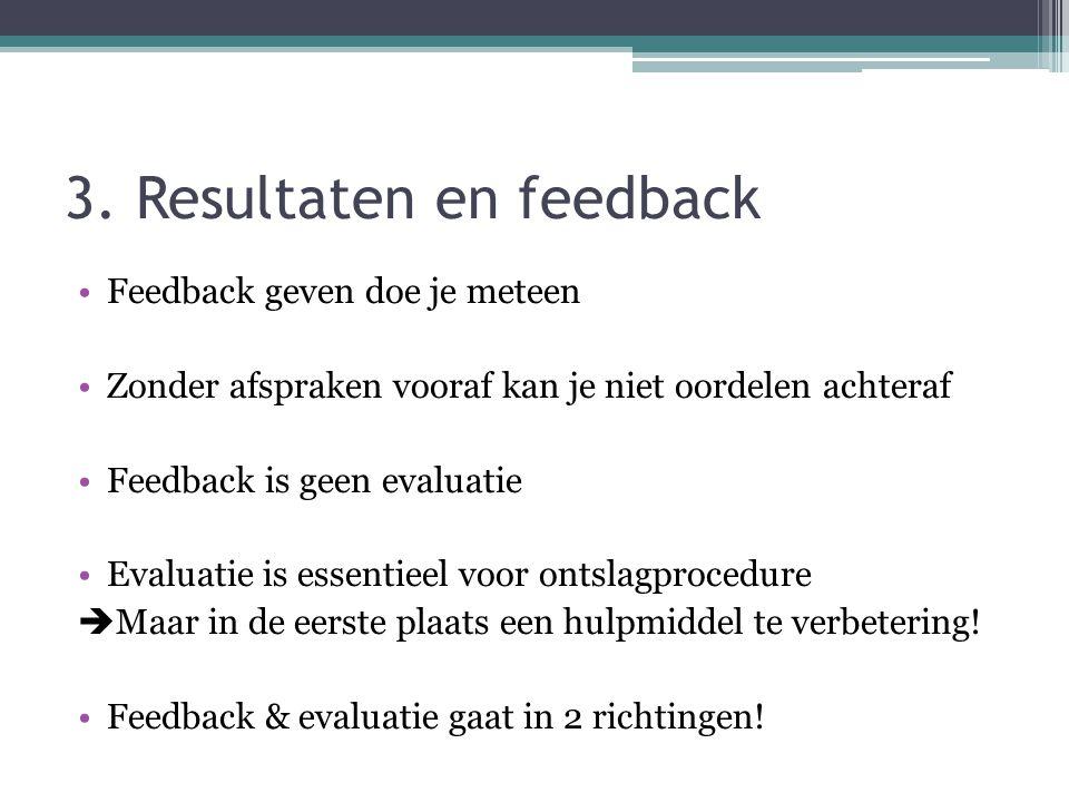 3. Resultaten en feedback Feedback geven doe je meteen Zonder afspraken vooraf kan je niet oordelen achteraf Feedback is geen evaluatie Evaluatie is e