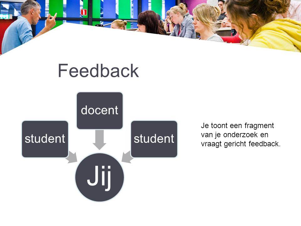 Feedback Jij studentdocentstudent Je toont een fragment van je onderzoek en vraagt gericht feedback.