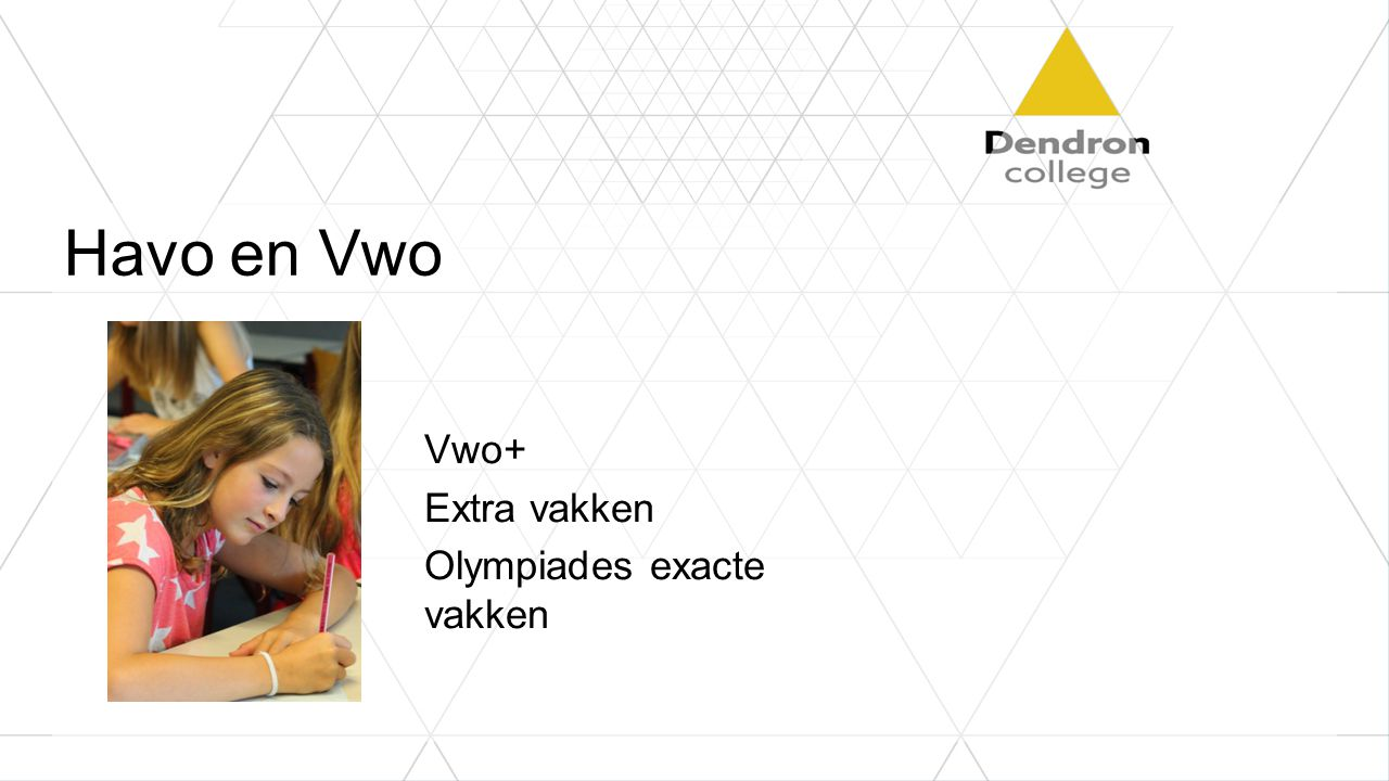 Havo en Vwo Vwo+ Extra vakken Olympiades exacte vakken