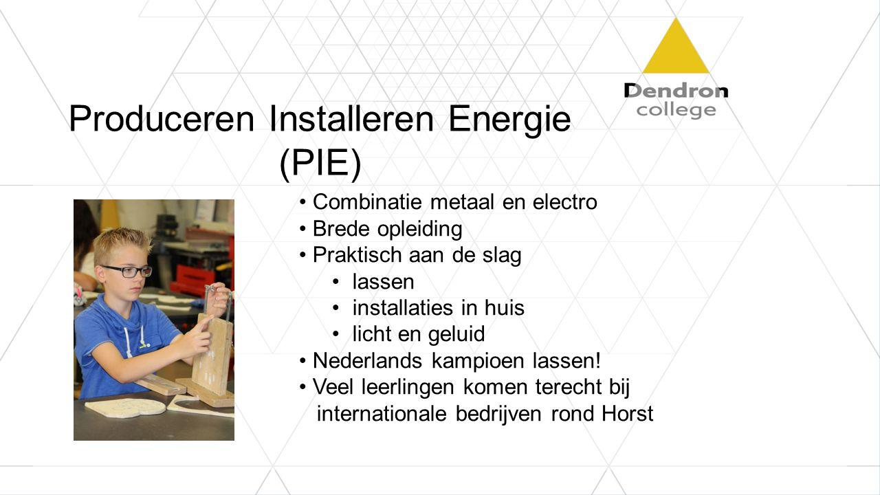 Produceren Installeren Energie (PIE) Combinatie metaal en electro Brede opleiding Praktisch aan de slag lassen installaties in huis licht en geluid Nederlands kampioen lassen.