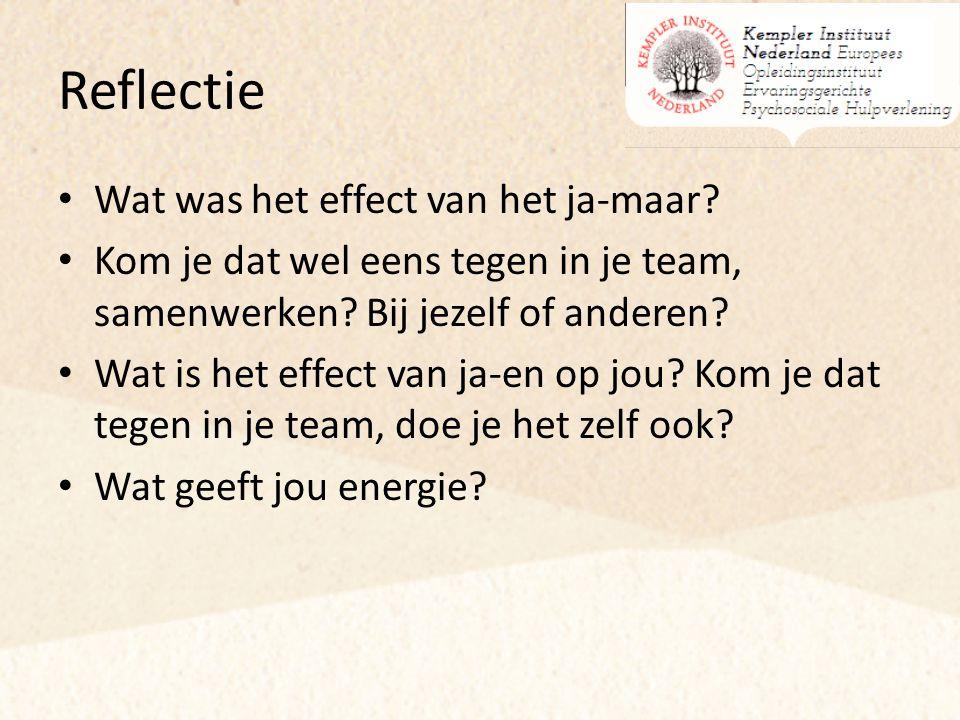 Reflectie Wat was het effect van het ja-maar? Kom je dat wel eens tegen in je team, samenwerken? Bij jezelf of anderen? Wat is het effect van ja-en op