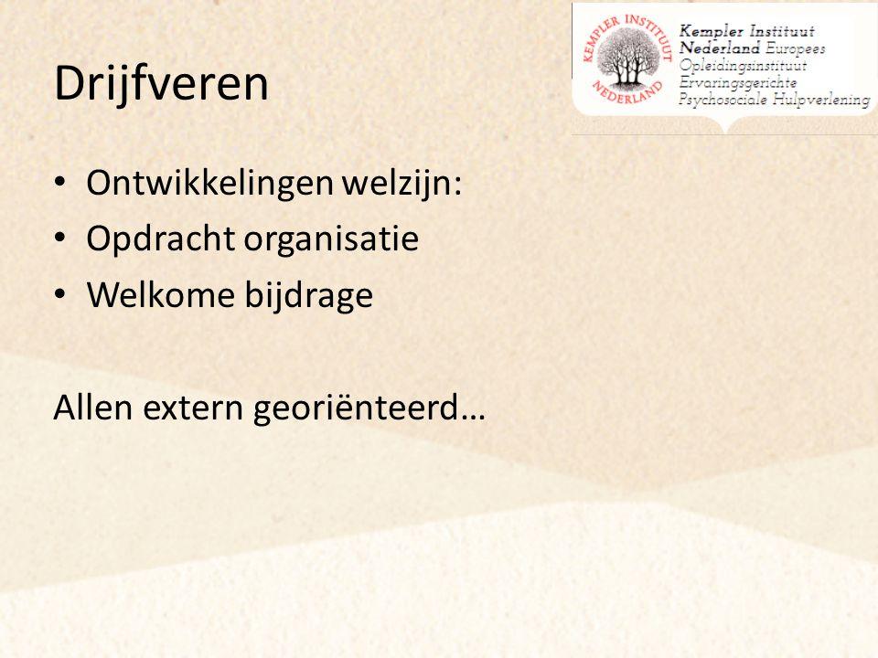 Drijfveren Ontwikkelingen welzijn: Opdracht organisatie Welkome bijdrage Allen extern georiënteerd…