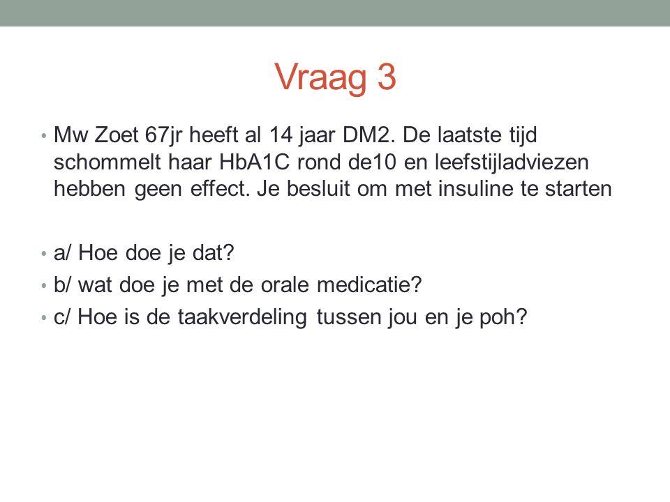 Vraag 3 Mw Zoet 67jr heeft al 14 jaar DM2.