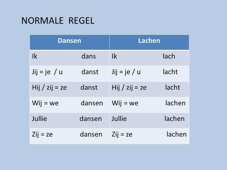 NORMALE REGEL DansenLachen Ik dansIk lach Jij = je / u danstJij = je / u lacht Hij / zij = ze danstHij / zij = ze lacht Wij = we dansenWij = we lachen