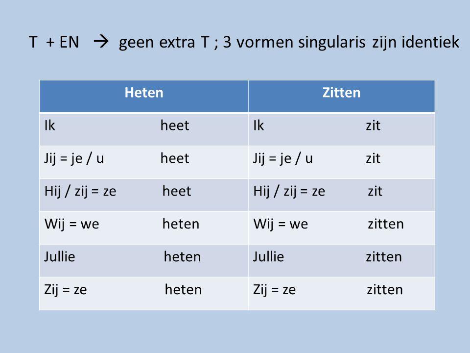 T + EN  geen extra T ; 3 vormen singularis zijn identiek HetenZitten Ik heetIk zit Jij = je / u heetJij = je / u zit Hij / zij = ze heetHij / zij = z