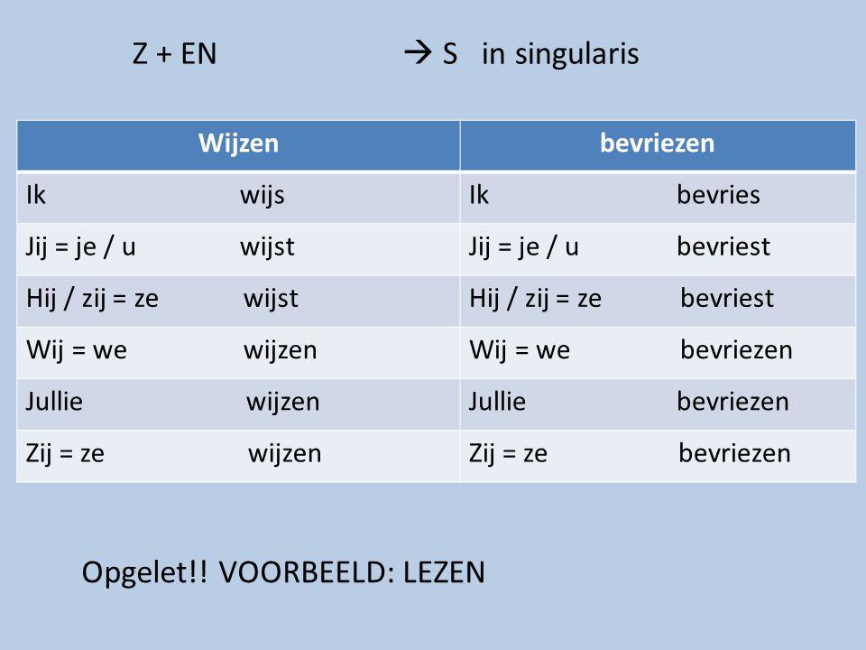 Z + EN  S in singularis Wijzenbevriezen Ik wijsIk bevries Jij = je / u wijstJij = je / u bevriest Hij / zij = ze wijstHij / zij = ze bevriest Wij = w