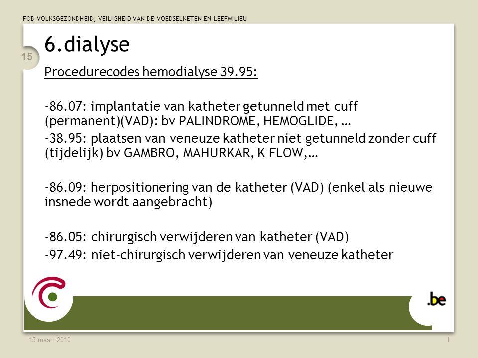 FOD VOLKSGEZONDHEID, VEILIGHEID VAN DE VOEDSELKETEN EN LEEFMILIEU 15 maart 2010l 15 6.dialyse Procedurecodes hemodialyse 39.95: -86.07: implantatie van katheter getunneld met cuff (permanent)(VAD): bv PALINDROME, HEMOGLIDE, … -38.95: plaatsen van veneuze katheter niet getunneld zonder cuff (tijdelijk) bv GAMBRO, MAHURKAR, K FLOW,… -86.09: herpositionering van de katheter (VAD) (enkel als nieuwe insnede wordt aangebracht) -86.05: chirurgisch verwijderen van katheter (VAD) -97.49: niet-chirurgisch verwijderen van veneuze katheter