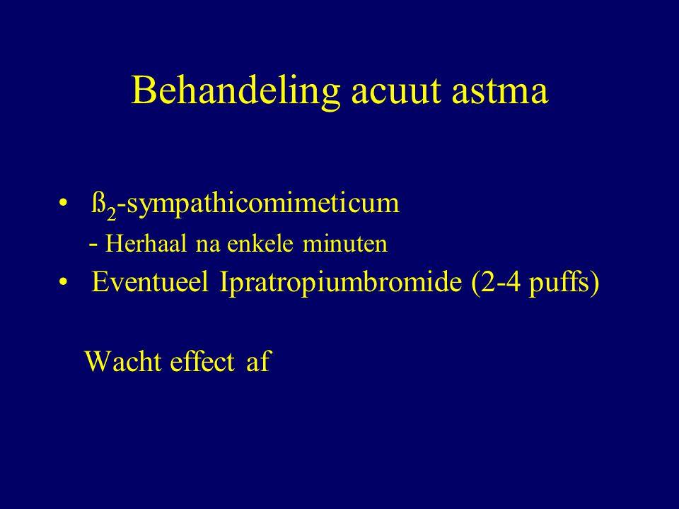 Behandeling acuut astma ß 2 -sympathicomimeticum - Herhaal na enkele minuten Eventueel Ipratropiumbromide (2-4 puffs) Wacht effect af