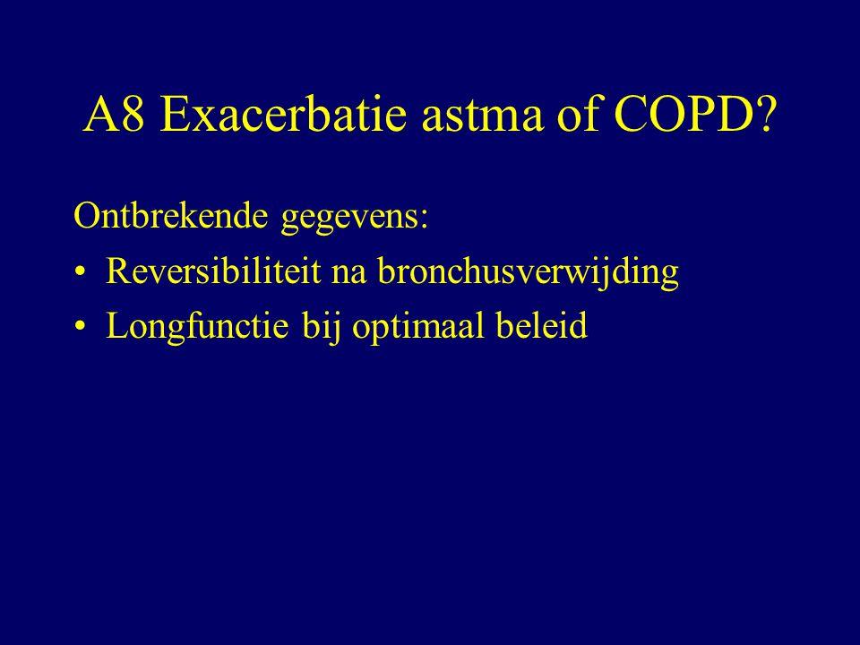 A8 Exacerbatie astma of COPD.