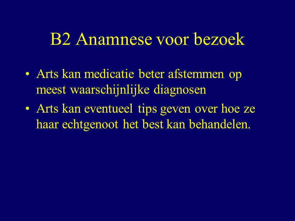 B2 Anamnese voor bezoek Arts kan medicatie beter afstemmen op meest waarschijnlijke diagnosen Arts kan eventueel tips geven over hoe ze haar echtgenoot het best kan behandelen.
