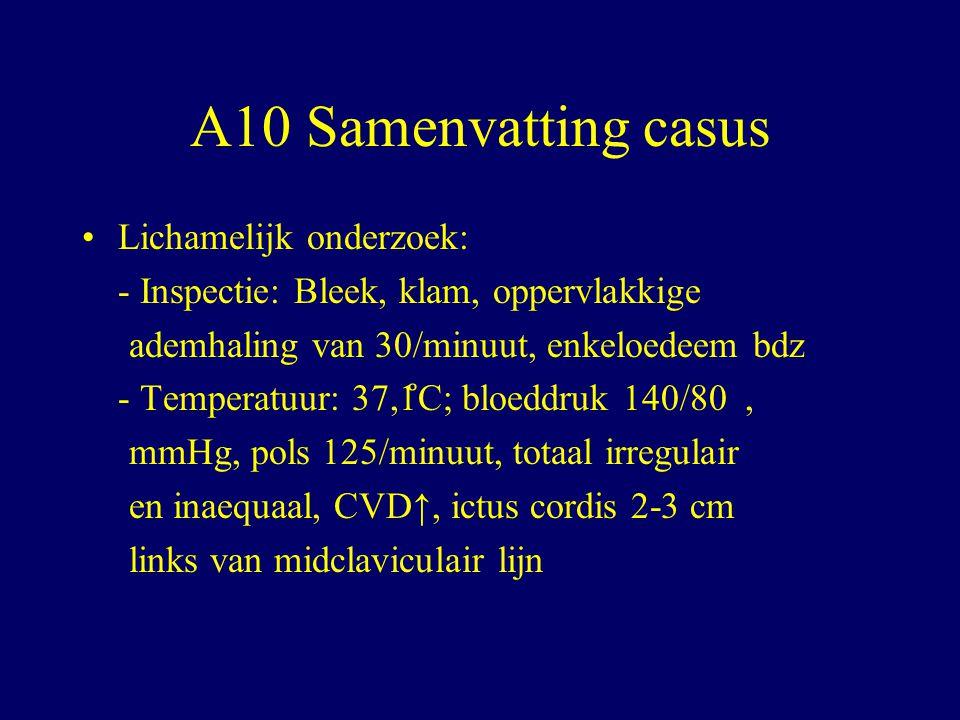 A10 Samenvatting casus Lichamelijk onderzoek: - Inspectie: Bleek, klam, oppervlakkige ademhaling van 30/minuut, enkeloedeem bdz - Temperatuur: 37,1 ̊ C; bloeddruk 140/80, mmHg, pols 125/minuut, totaal irregulair en inaequaal, CVD↑, ictus cordis 2-3 cm links van midclaviculair lijn