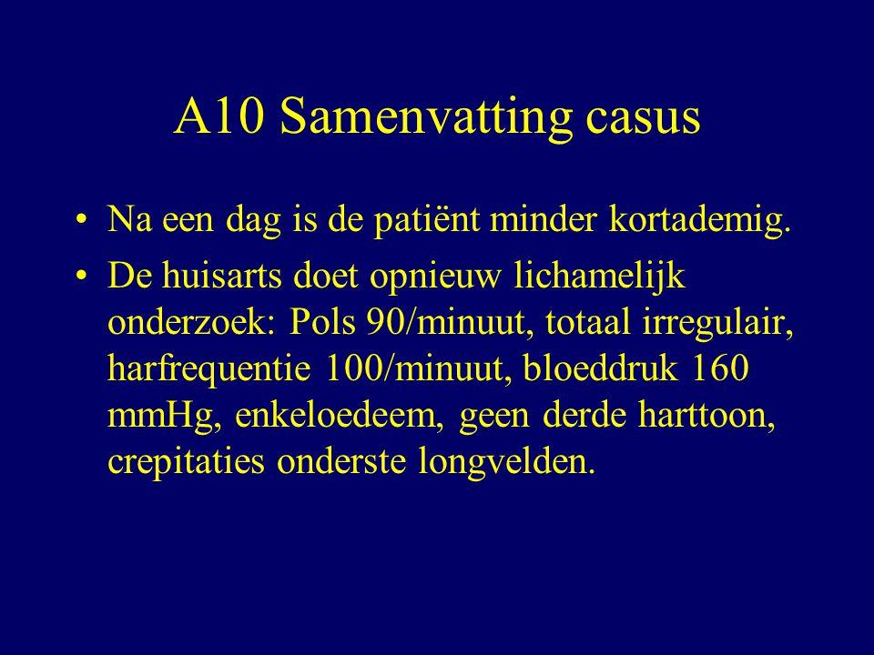 A10 Samenvatting casus Na een dag is de patiënt minder kortademig.