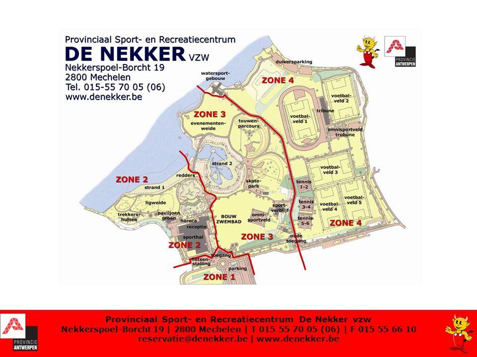 Provinciaal Sport- en Recreatiecentrum De Nekker vzw Nekkerspoel-Borcht 19 | 2800 Mechelen | T 015 55 70 05 (06) | F 015 55 66 10 reservatie@denekker.be | www.denekker.be