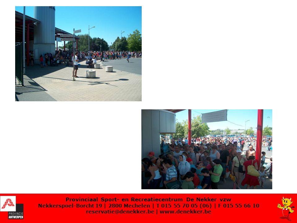Inschakeling bewakingsagenten Bewakingsfirma: werkt met 3 codes en regel van 3: 1.Voorkomen (klantvriendelijkheid) 2.Corrigeren (regels zijn gekend) 3.Effectief optreden (terrein verlaten) Codes:  Groen: niet dringend, gewoon langskomen  Oranje: dringend ter plaatse komen – er kunnen zich problemen manifesteren  Rood: zeer dringend Provinciaal Sport- en Recreatiecentrum De Nekker vzw Nekkerspoel-Borcht 19   2800 Mechelen   T 015 55 70 05 (06)   F 015 55 66 10 reservatie@denekker.be   www.denekker.be