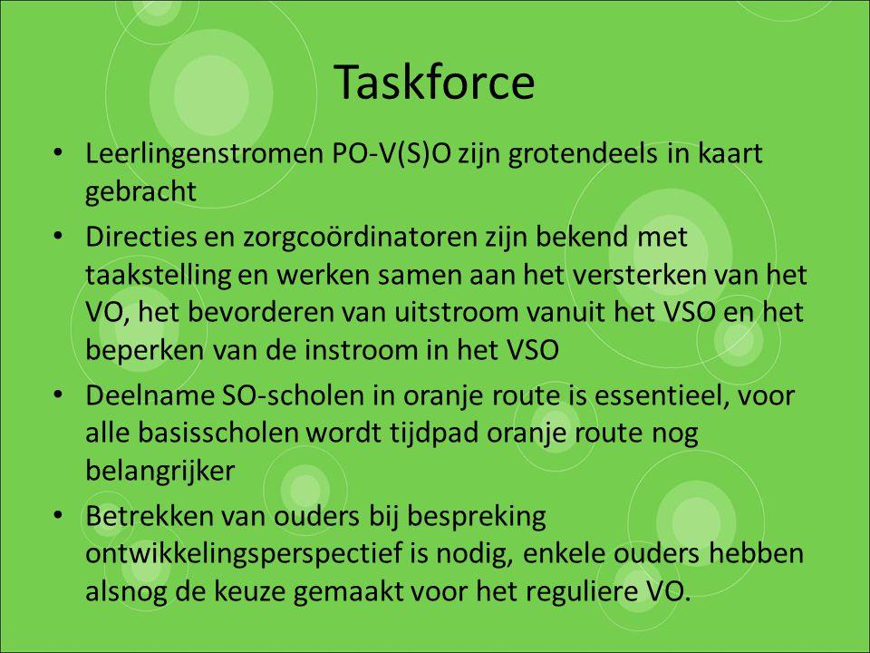 Taskforce Leerlingenstromen PO-V(S)O zijn grotendeels in kaart gebracht Directies en zorgcoördinatoren zijn bekend met taakstelling en werken samen aa