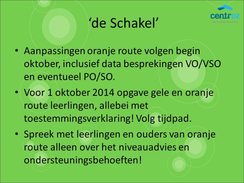 'de Schakel' Aanpassingen oranje route volgen begin oktober, inclusief data besprekingen VO/VSO en eventueel PO/SO. Voor 1 oktober 2014 opgave gele en