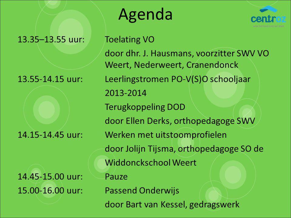 Agenda 13.35–13.55 uur: Toelating VO door dhr. J. Hausmans, voorzitter SWV VO Weert, Nederweert, Cranendonck 13.55-14.15 uur: Leerlingstromen PO-V(S)O
