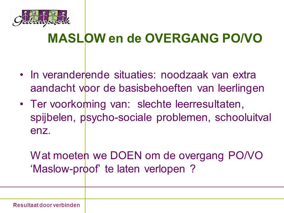 Resultaat door verbinden MASLOW en de OVERGANG PO/VO In veranderende situaties: noodzaak van extra aandacht voor de basisbehoeften van leerlingen Ter