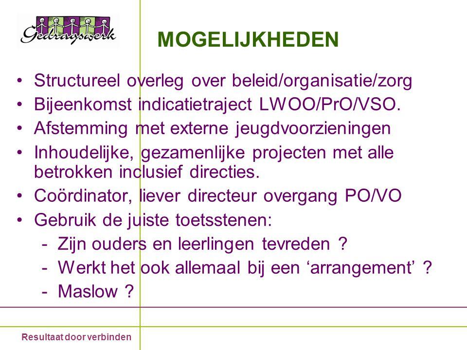 Resultaat door verbinden MOGELIJKHEDEN Structureel overleg over beleid/organisatie/zorg Bijeenkomst indicatietraject LWOO/PrO/VSO. Afstemming met exte