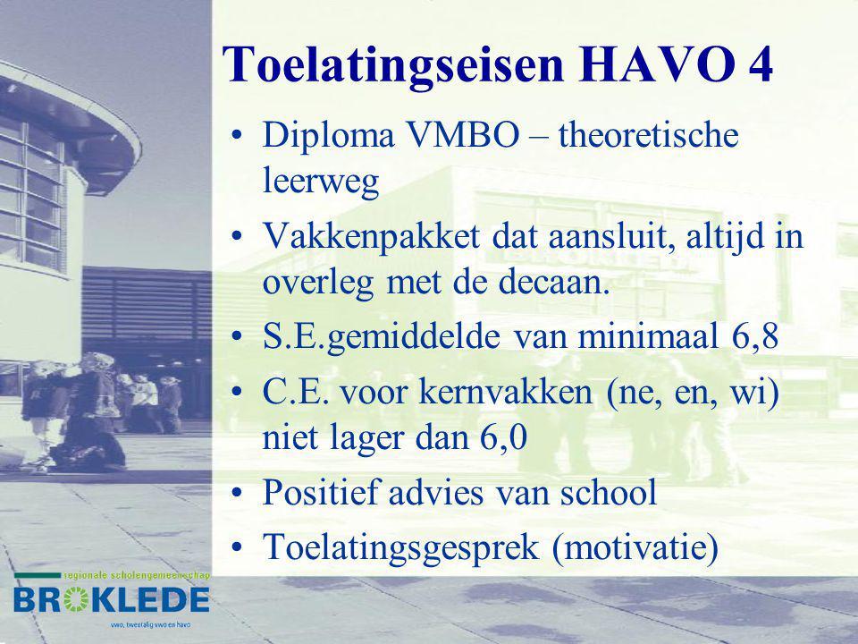 Toelatingseisen HAVO 4 Diploma VMBO – theoretische leerweg Vakkenpakket dat aansluit, altijd in overleg met de decaan. S.E.gemiddelde van minimaal 6,8