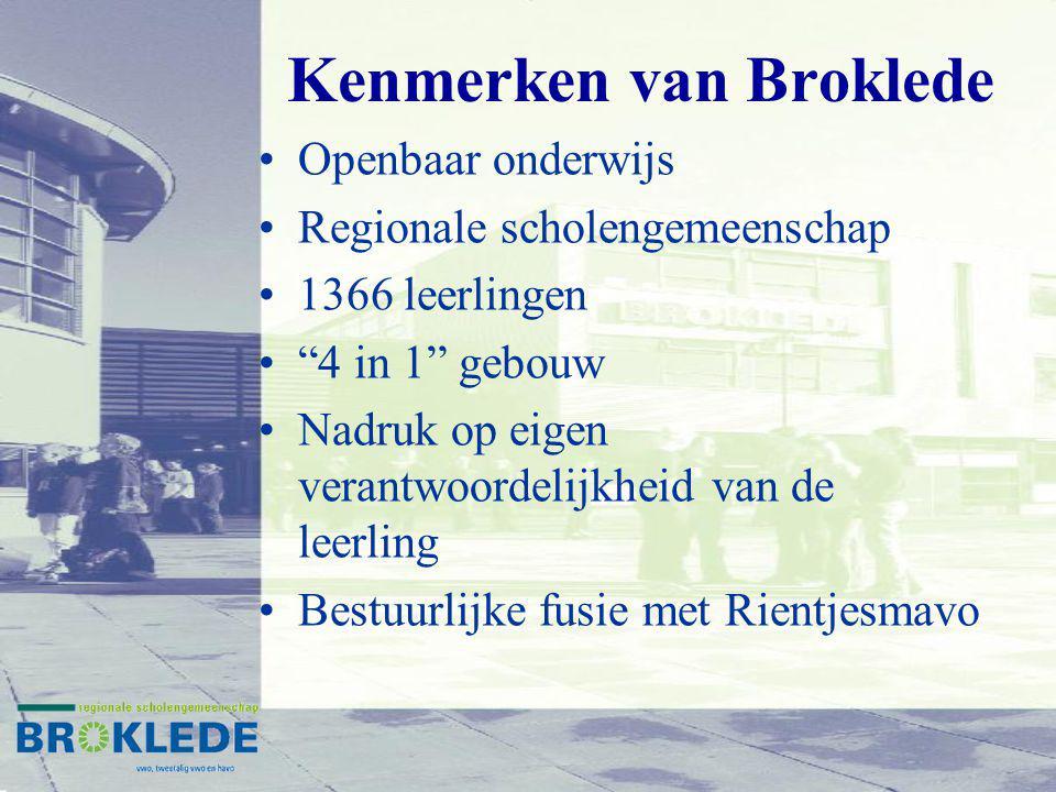 Kenmerken van Broklede Openbaar onderwijs Regionale scholengemeenschap 1366 leerlingen 4 in 1 gebouw Nadruk op eigen verantwoordelijkheid van de leerling Bestuurlijke fusie met Rientjesmavo