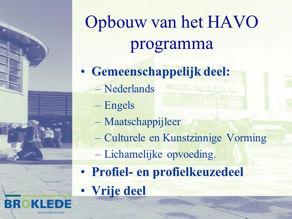 Opbouw van het HAVO programma Gemeenschappelijk deel: –Nederlands –Engels –Maatschappijleer –Culturele en Kunstzinnige Vorming –Lichamelijke opvoeding.