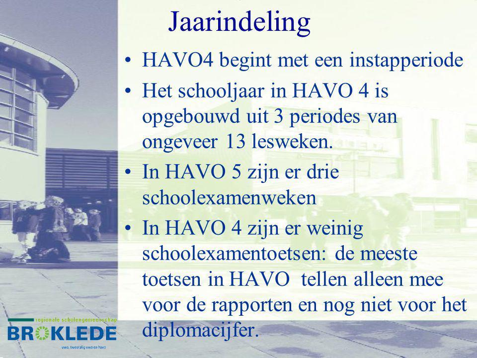 Jaarindeling HAVO4 begint met een instapperiode Het schooljaar in HAVO 4 is opgebouwd uit 3 periodes van ongeveer 13 lesweken. In HAVO 5 zijn er drie
