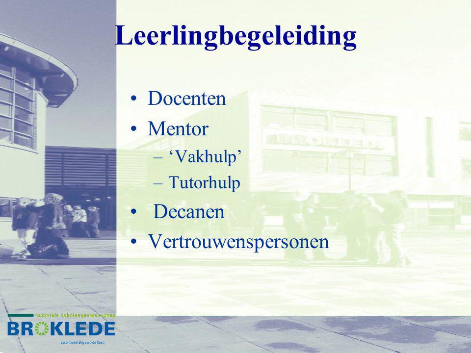 Leerlingbegeleiding Docenten Mentor –'Vakhulp' –Tutorhulp Decanen Vertrouwenspersonen