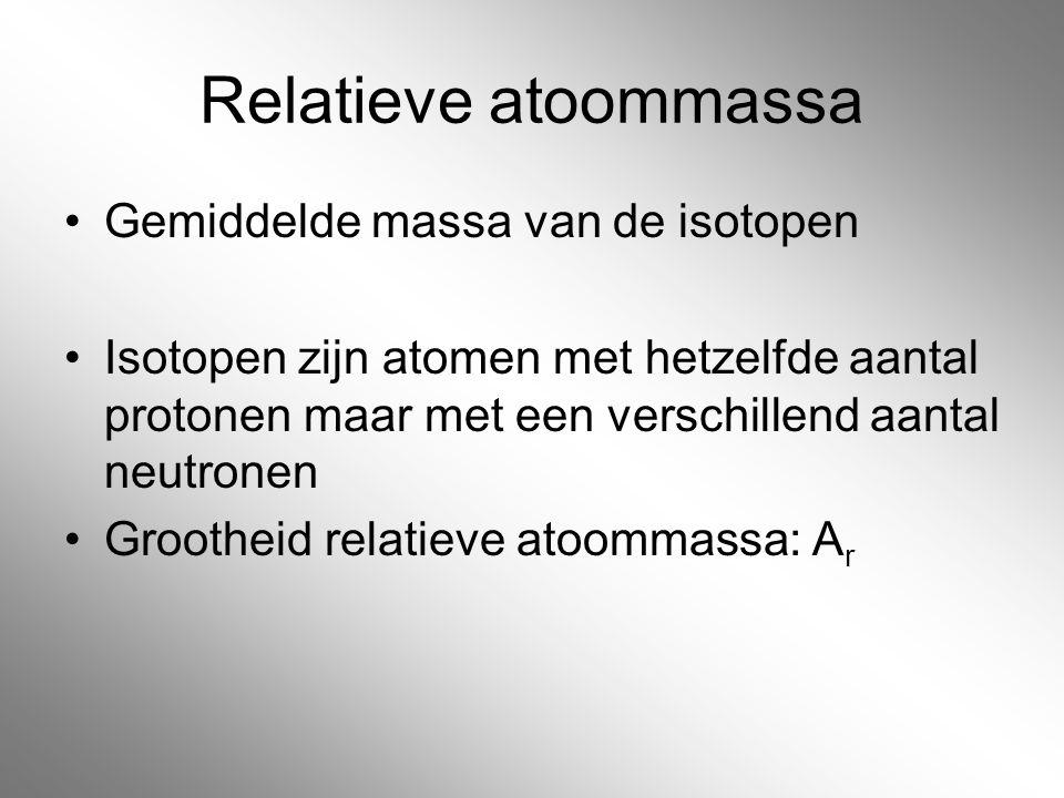 Relatieve atoommassa Gemiddelde massa van de isotopen Isotopen zijn atomen met hetzelfde aantal protonen maar met een verschillend aantal neutronen Gr