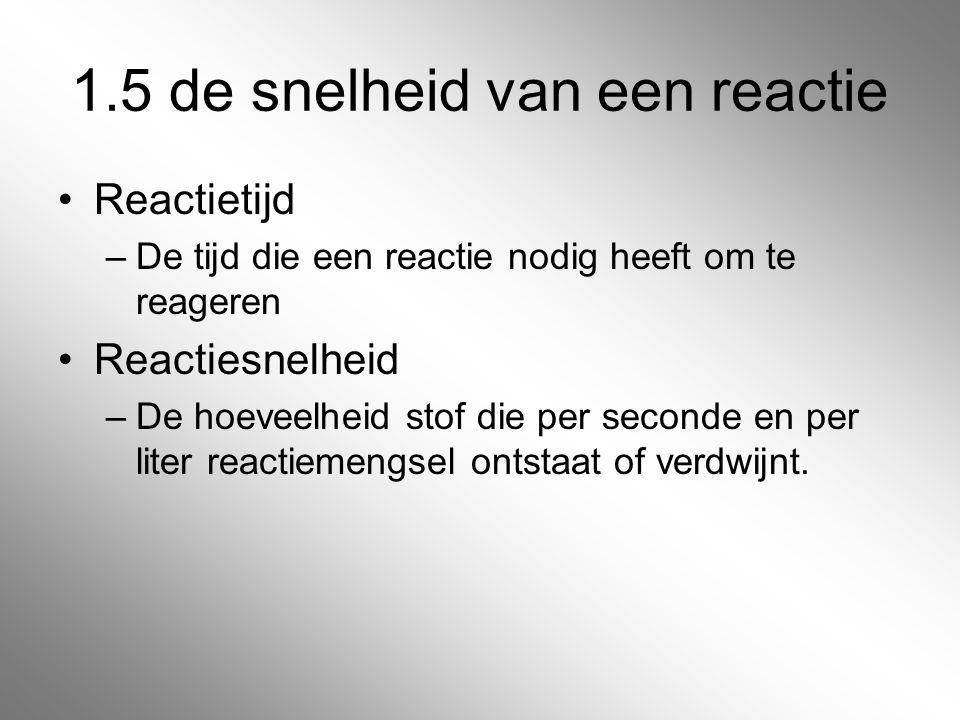 1.5 de snelheid van een reactie Reactietijd –De tijd die een reactie nodig heeft om te reageren Reactiesnelheid –De hoeveelheid stof die per seconde e