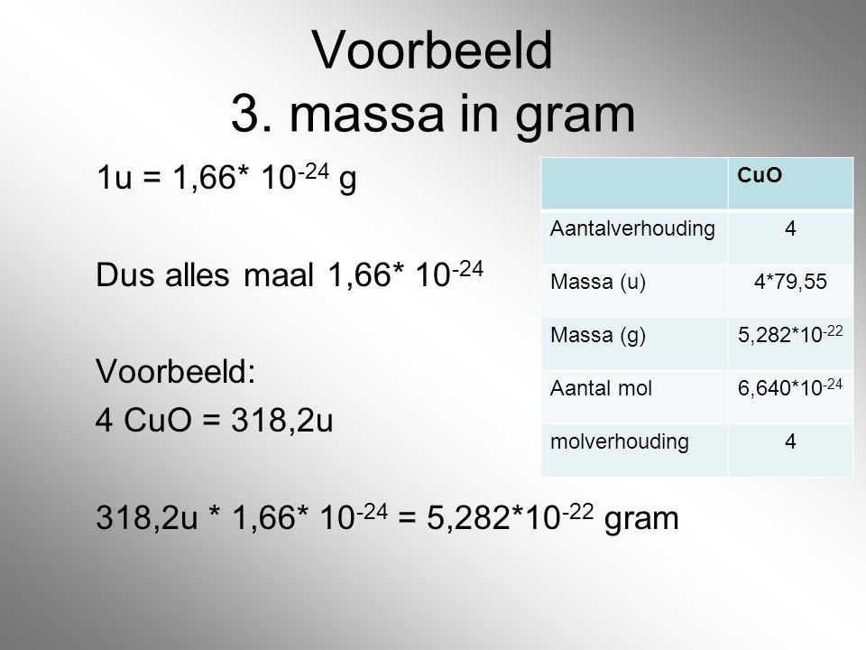 Voorbeeld 3. massa in gram 1u = 1,66* 10 -24 g Dus alles maal 1,66* 10 -24 Voorbeeld: 4 CuO = 318,2u 318,2u * 1,66* 10 -24 = 5,282*10 -22 gram CuO Aan