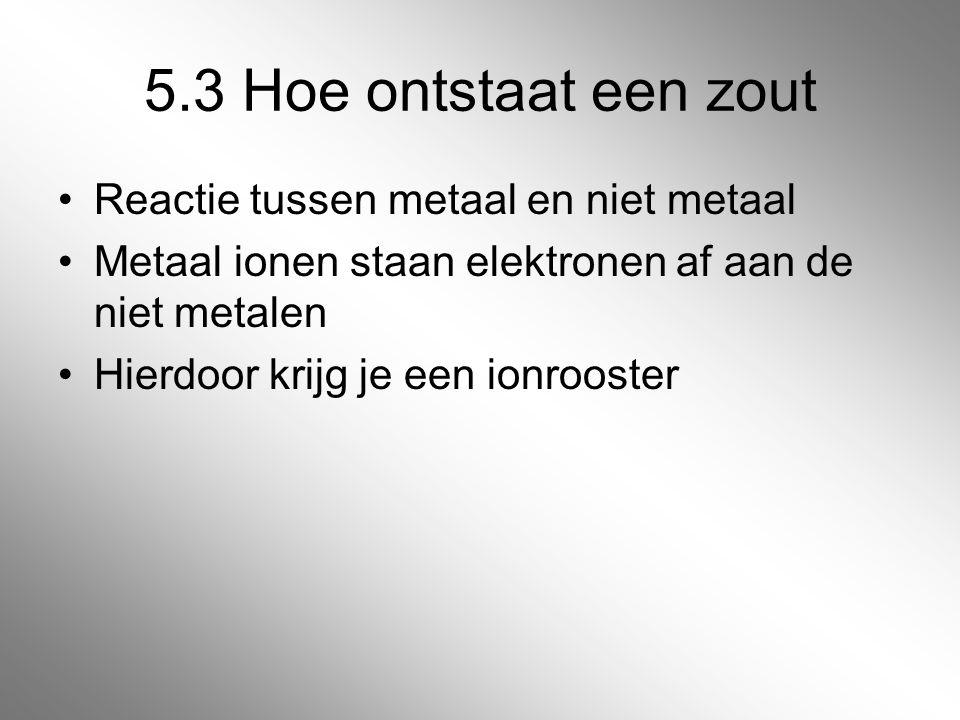 5.3 Hoe ontstaat een zout Reactie tussen metaal en niet metaal Metaal ionen staan elektronen af aan de niet metalen Hierdoor krijg je een ionrooster