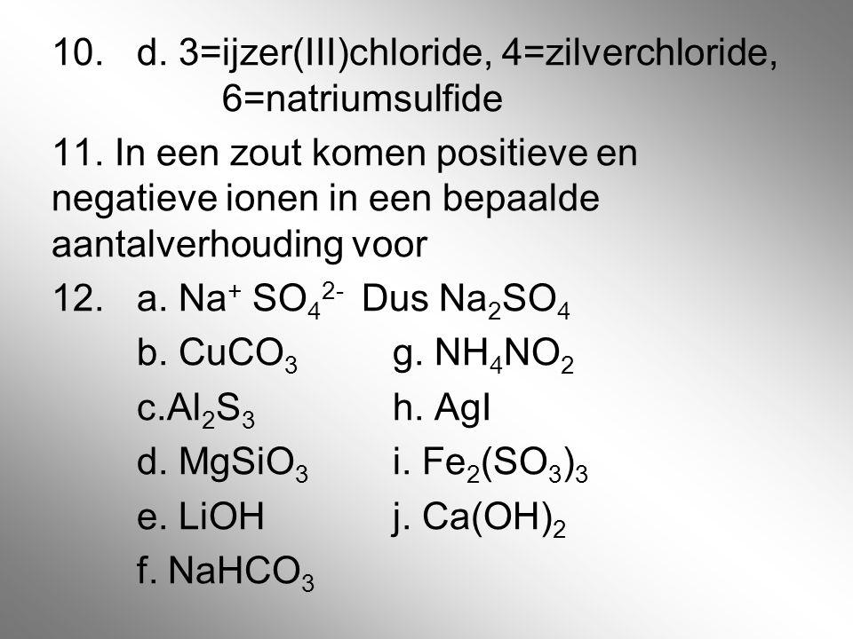 10.d. 3=ijzer(III)chloride, 4=zilverchloride, 6=natriumsulfide 11. In een zout komen positieve en negatieve ionen in een bepaalde aantalverhouding voo