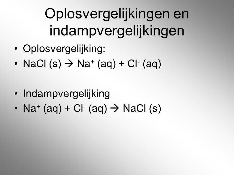Oplosvergelijkingen en indampvergelijkingen Oplosvergelijking: NaCl (s)  Na + (aq) + Cl - (aq) Indampvergelijking Na + (aq) + Cl - (aq)  NaCl (s)