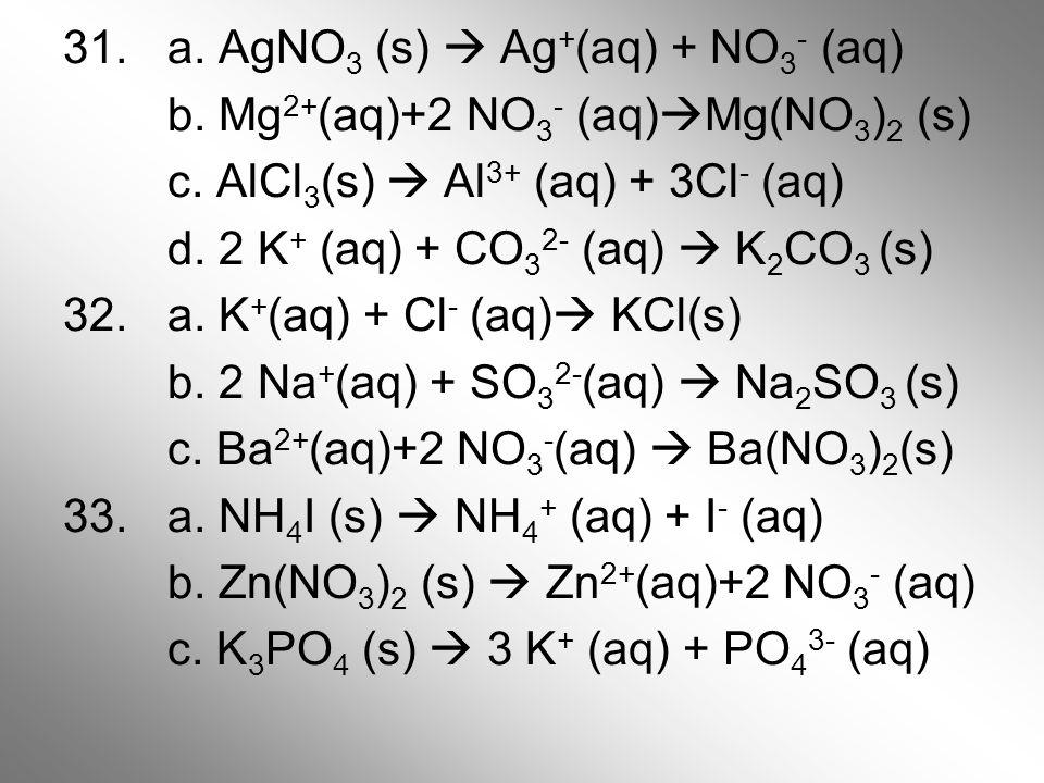 31. a. AgNO 3 (s)  Ag + (aq) + NO 3 - (aq) b. Mg 2+ (aq)+2 NO 3 - (aq)  Mg(NO 3 ) 2 (s) c. AlCl 3 (s)  Al 3+ (aq) + 3Cl - (aq) d. 2 K + (aq) + CO 3