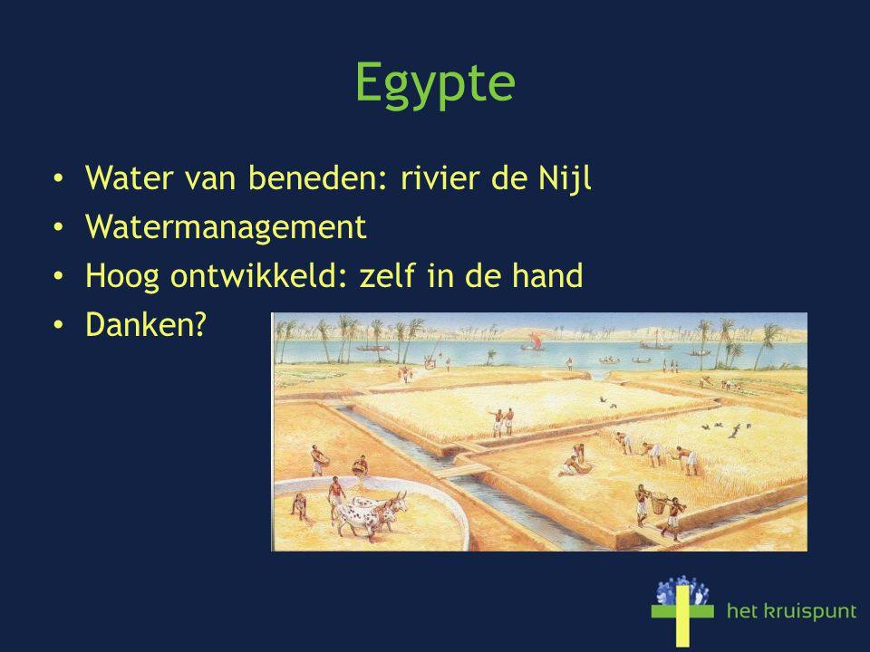 Egypte Water van beneden: rivier de Nijl Watermanagement Hoog ontwikkeld: zelf in de hand Danken?