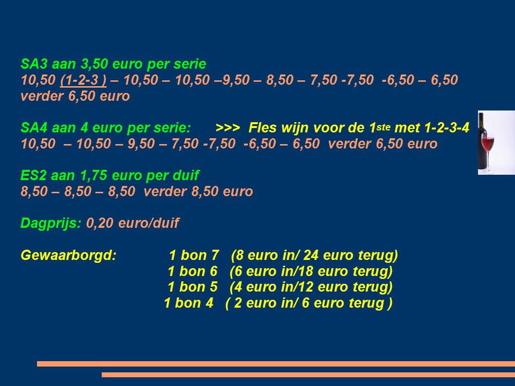 Heeft aan 1,50 euro/duif : AS 2 Duiven : 20 (1-2) - 20 - 10 (1-2) - 10 (1-2) - 10 (1-2) - 10 - 10 – 10 – 10 - 10 - 10 - 10 - 10 – 5 - 5 - 5 – 5 - 5 -