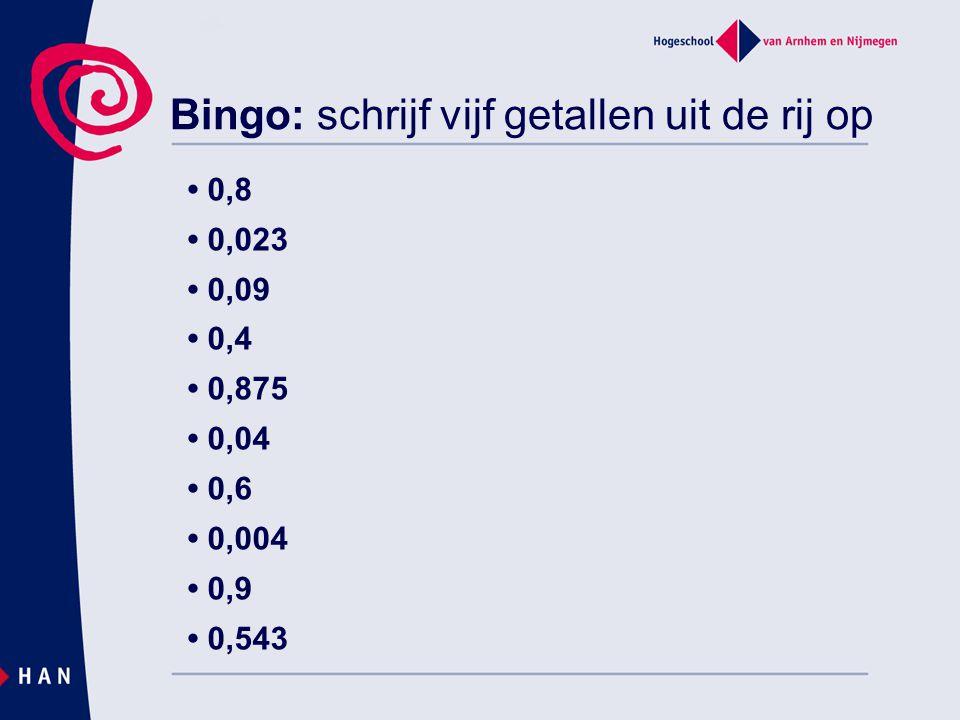 Bingo: schrijf vijf getallen uit de rij op 0,8 0,023 0,09 0,4 0,875 0,04 0,6 0,004 0,9 0,543