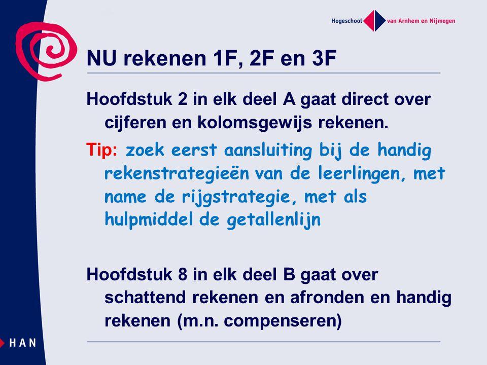 NU rekenen 1F, 2F en 3F Hoofdstuk 2 in elk deel A gaat direct over cijferen en kolomsgewijs rekenen. Tip: zoek eerst aansluiting bij de handig rekenst