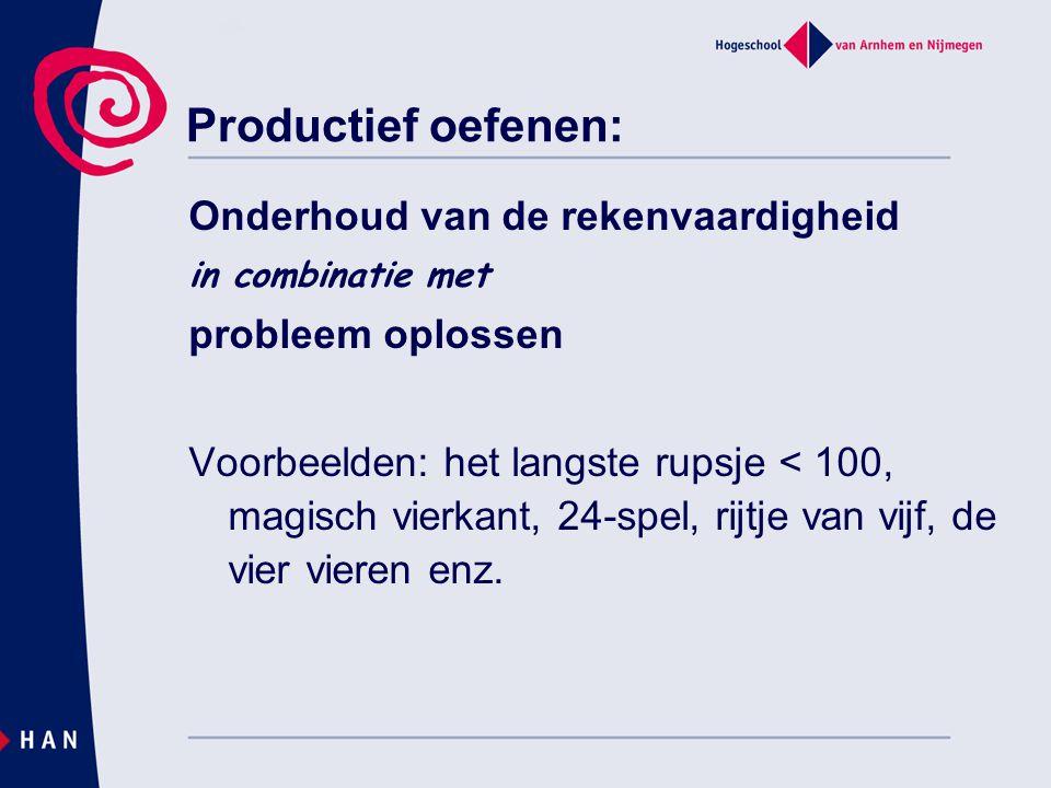 Productief oefenen: Onderhoud van de rekenvaardigheid in combinatie met probleem oplossen Voorbeelden: het langste rupsje < 100, magisch vierkant, 24-