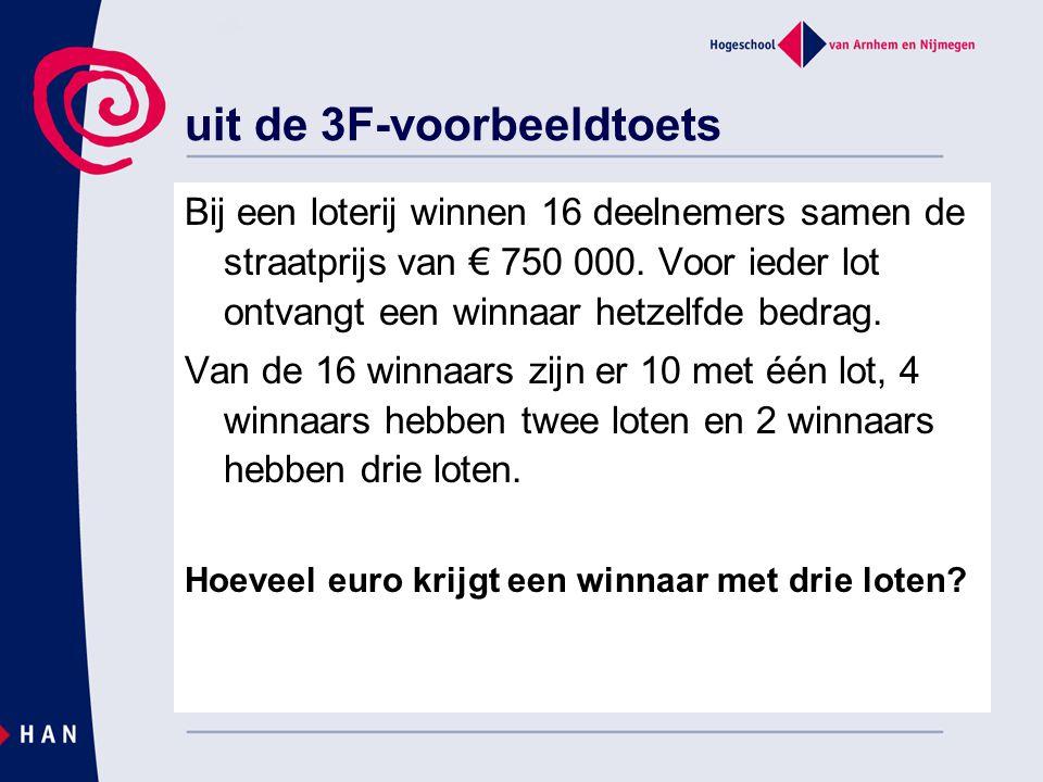 uit de 3F-voorbeeldtoets Bij een loterij winnen 16 deelnemers samen de straatprijs van € 750 000. Voor ieder lot ontvangt een winnaar hetzelfde bedrag