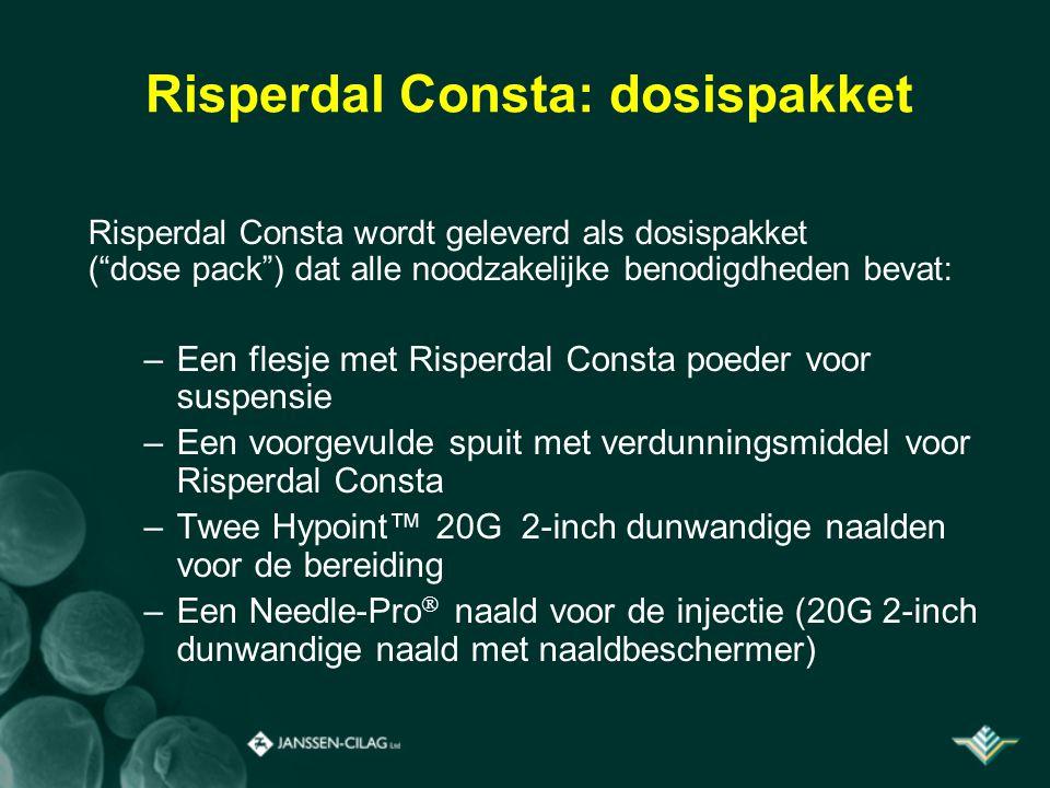 """Risperdal Consta: dosispakket Risperdal Consta wordt geleverd als dosispakket (""""dose pack"""") dat alle noodzakelijke benodigdheden bevat: –Een flesje me"""