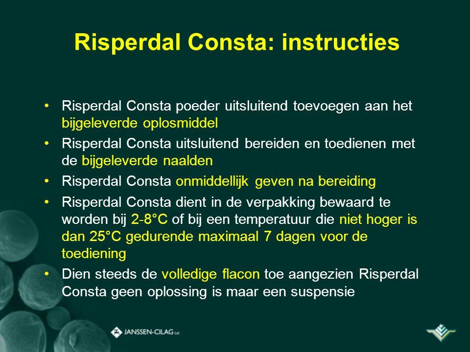 Risperdal Consta: instructies Risperdal Consta poeder uitsluitend toevoegen aan het bijgeleverde oplosmiddel Risperdal Consta uitsluitend bereiden en