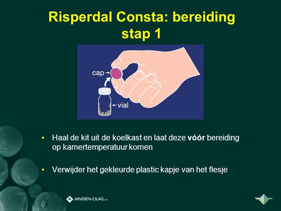 Risperdal Consta: bereiding stap 1 Haal de kit uit de koelkast en laat deze vóór bereiding op kamertemperatuur komen Verwijder het gekleurde plastic k